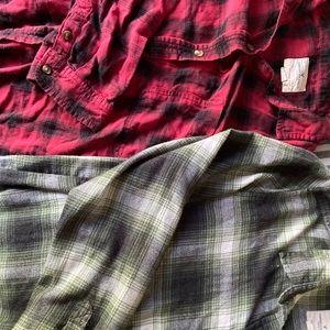 2 boyfriend fit American Eagle flannels
